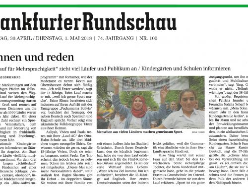 Artikel in der Frankfurter Rundschau vom 30.04.2018 über den 6. Lauf für Mehrsprachigkeit